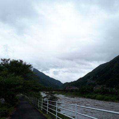 遠山郷 逆さ富士 台風